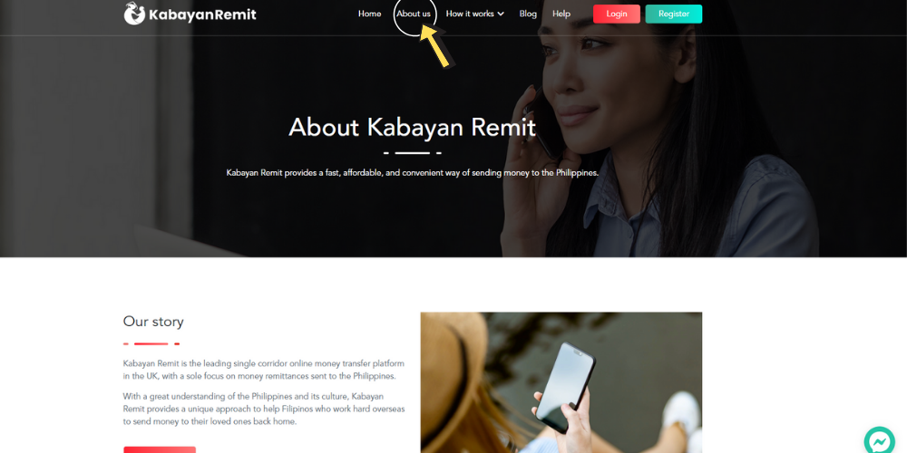 About Us page on Kabayan Remit website