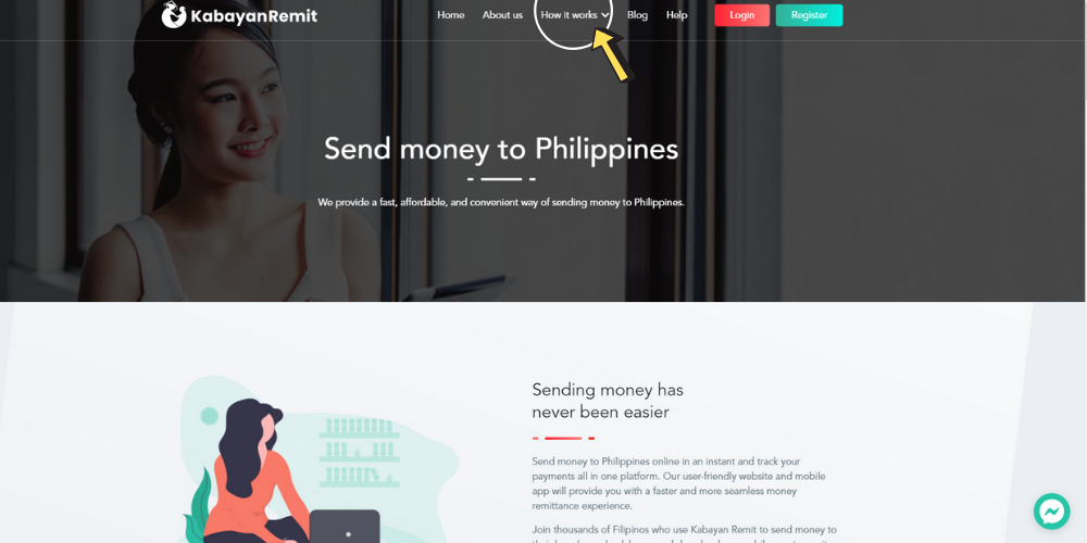 How It Works page on Kabayan Remit website