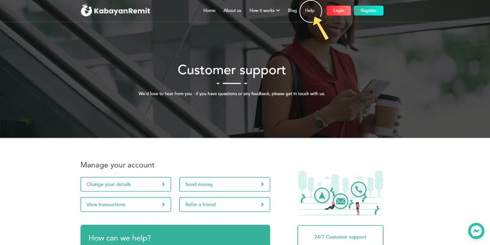 Help page on Kabayan Remit website