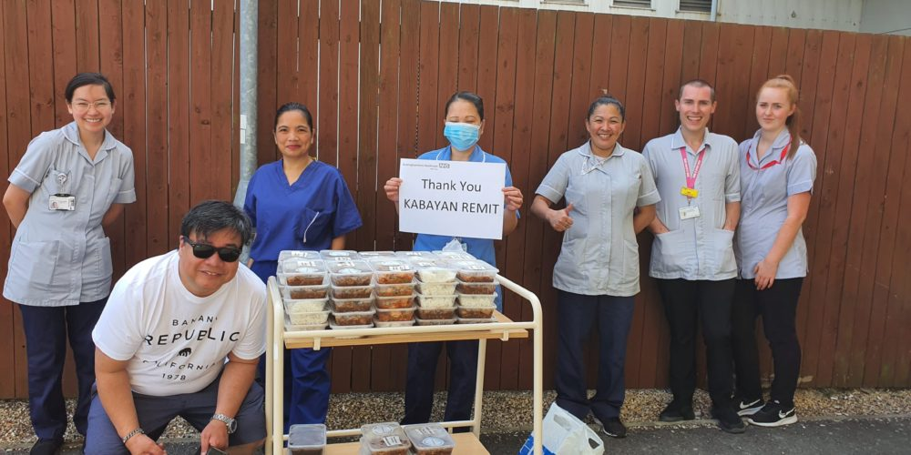 NHS nurses thanking Kabayan Remit for the free lunch they received.