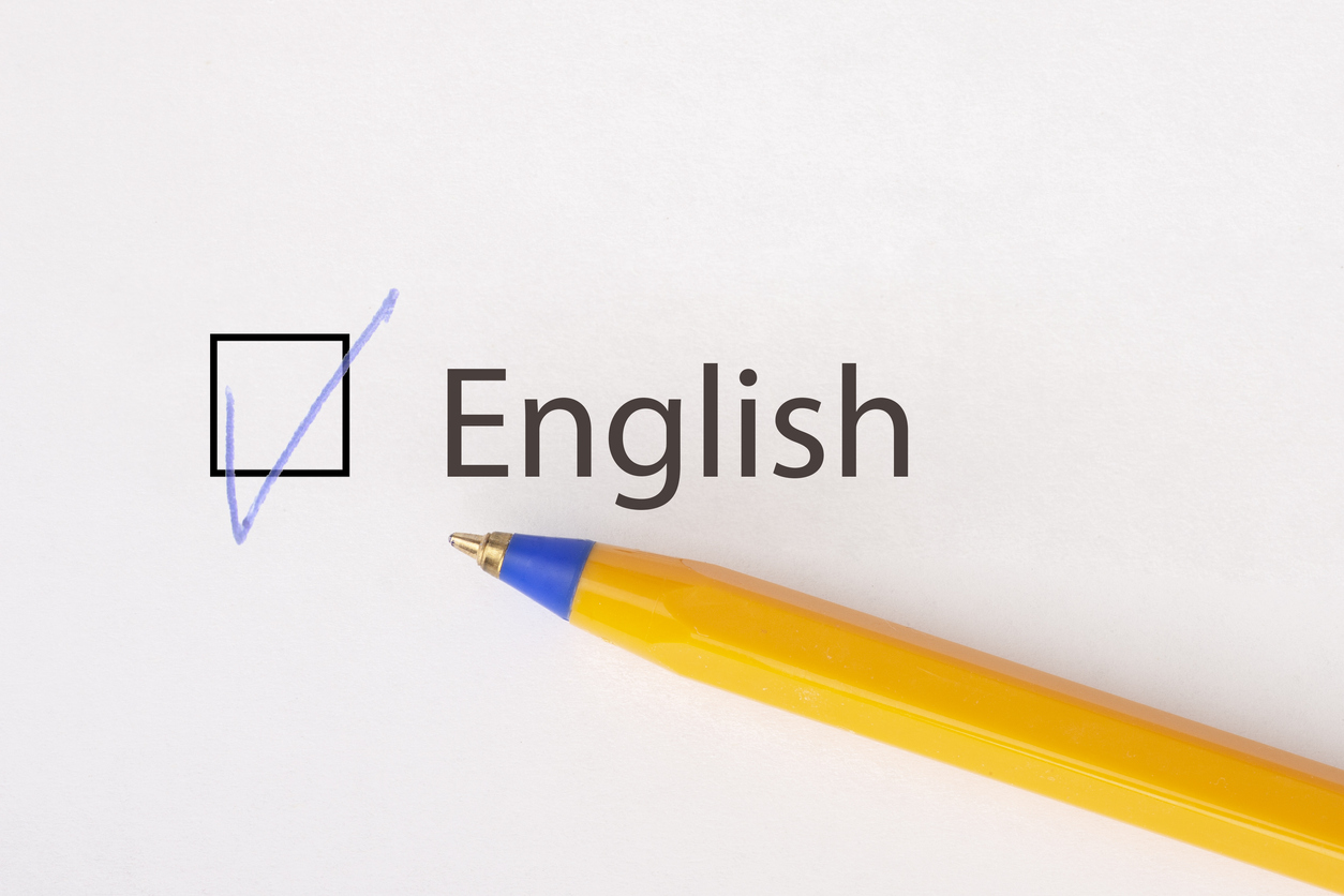 "A pen right below the word ""English"" and a checkbox ticked."
