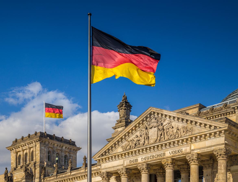 German flag on pole.