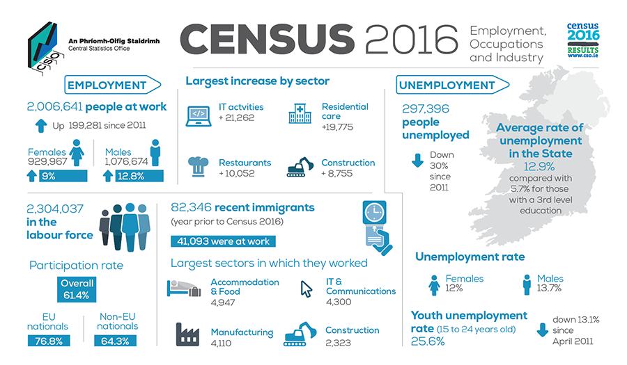 Infographic on Ireland's employment