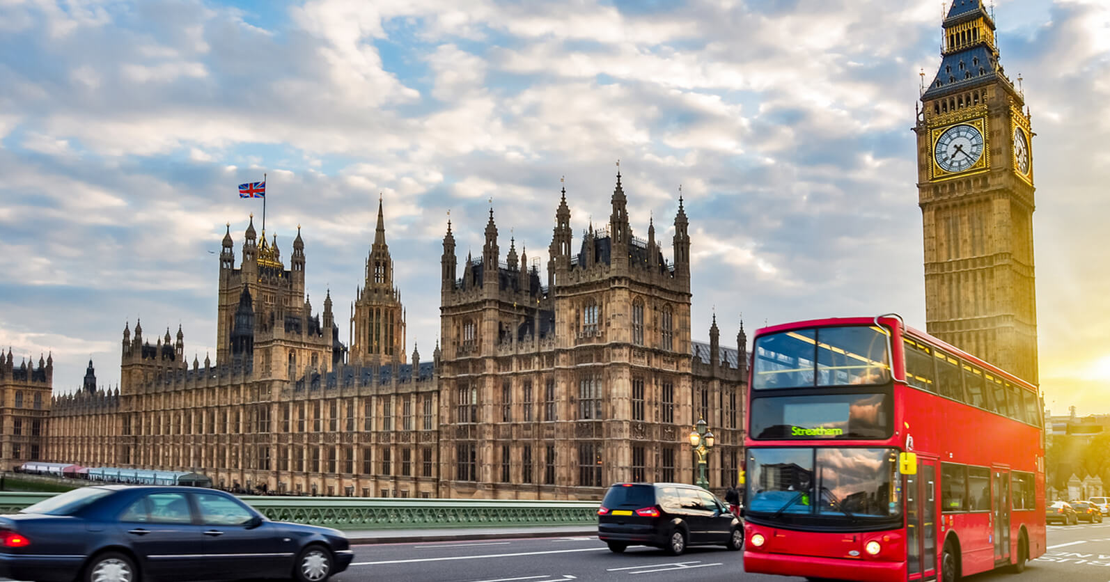 Beautiful landscape of London with big ben and red bus